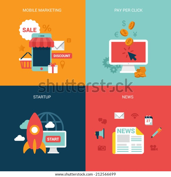 Flat design vector illustration concept process icons set of modern mobile marketing pay per click startup business news. Big flat processes collection.
