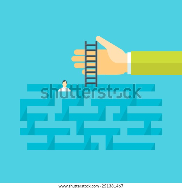 Flat design vector illustration concept for help in a complicated situation, providing support, solving problem, finding solution, business consulting, crisis management isolated on bright background