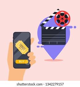 Flat design vector illustration concepts of online cinema ticket order. Hand holding mobile smart phone with online buy app. Vector modern flat creative info graphics design.