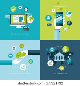 Flat design vector illustration concepts of online payment methods. Icons for online payment gataway, mobile payments, electronic funds transfers and bank wire transfer.