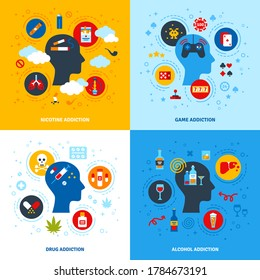 Flat Design Vector Illustration Concepts of Nicotine, Game, Alcohol, Drug Addictions. Human head flat icons, psychology logo. Bad habits collection, alcoholism, smoking, gambling.