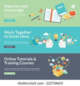 Flat design vector illustration concepts for education. Concepts for online tutorials, training courses, teamwork, research, university, distance education.