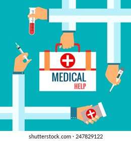 Flat design vector illustration concepts for medical care. Healthcare system concept for web and printed materials.