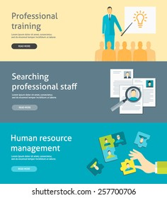 Flat design vector illustration concepts for human resource management, searching and selecting employees, recruitment, professional training for web banners and headers