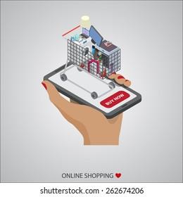 flat design vector illustration concepts of online shopping