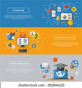 Flat design vector illustration concepts of education and online learning.