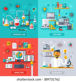 Flat design vector illustration concepts of education and science. Lab, Testing, Analysis and Scientist.