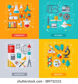 Flat design vector illustration concepts of education and science. Chemistry, Biology, Physics and Geometry.