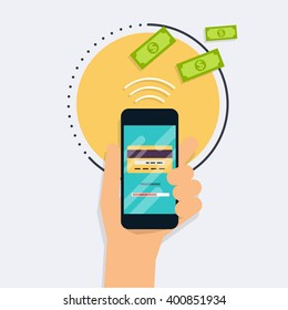 Flat design vector illustration concepts of online payment methods. Internet banking, purchasing and transaction, electronic funds transfers and bank wire.