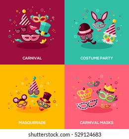 Flat design vector illustration concepts of carnival, photo booth party, funfair or masquerade ball. Square banners with mask, hat, smiling lips and confetti.
