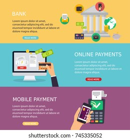 Flat design vector illustration concepts of online payment methods. Internet banking, purchasing and transaction, electronic funds transfers and bank wire transfer.