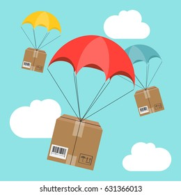 Flat design. Vector illustration. Delivery service. Parachute with parcel in the sky. Shipping, delivery concept.