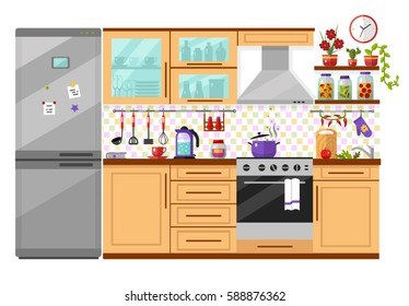 Flat design vector illustration of domestic kitchen interior with utensils, food and devices. Including icons of fridge, oven, kettle, pot, whisk, pan, home canned vegetables, jam. Isolated on white.