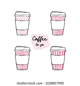 Flat design vector illustration - doodle take away coffee cup