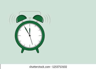 Flat design Vector Illustration Empty esp template copy space text for Ad, promotion, poster, flyer, web banner, article Classical Twin Bell Analog Alam Clock with Extra Hand Ringing Sound icon