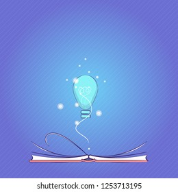 Flat design Vector Illustration Empty esp template copy space text for Ad, promotion, poster, flyer, web banner, article Illuminated Bulb Glow with Filament Hovering Over Open Pages Flipping Book