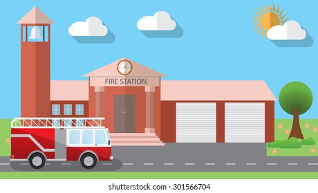 Flat design vector illustration of fire station building and parked fire truck in flat design style, vector illustration.