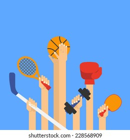 Flat design vector illustration hands with sports equipment. Con?ept do sports.