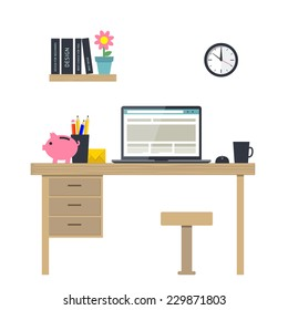 Flat design vector illustration of home office interior with notebook. Vector illustration of workplace