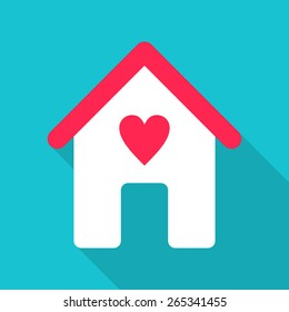 Flat Design Vector Illustration. House Icon with Red Heart