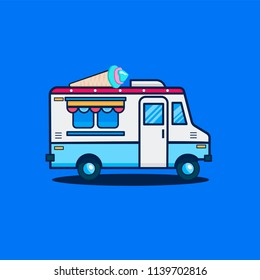 Flat design vector illustration of ice cream car. Mobile retro vintage shop truck icon with signboard with big ice cream cone. Side view, isolated. Dessert delivery concept.