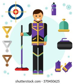 Flat design vector illustration of ice curling sport game equipment. Smiling happy curler with curling broom. Including icons of gloves, hat, bottle, broom, stone and gold, silver and bronze medals.