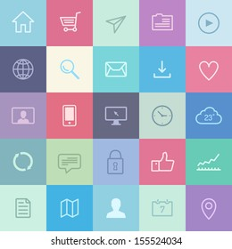Flat design vector illustration icons set of various web user interface elements and application symbols in modern metro style design. Isolated on stylish colored background.