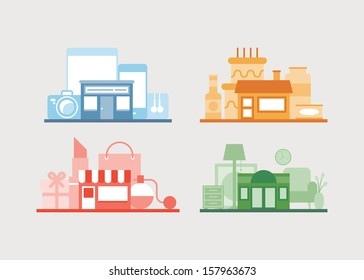 Flat design vector illustration icons set of modern e-store, shop of furniture, shop of gifts and cafe for relaxing after buying. Isolated on white background.