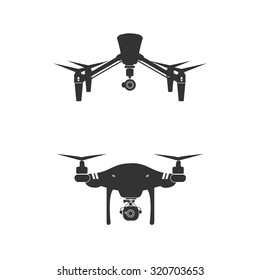 Flat design vector illustration icons of drones