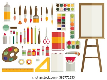 flat design vector illustration icons set of art supplies, art instruments for painting, drawing, sketching