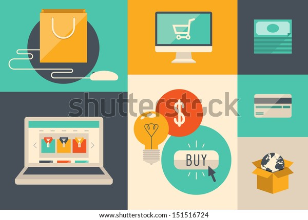 Flat design vector illustration icons of e-commerce symbols, internet shopping elements and objects in retro stylish color. Isolated on colored background