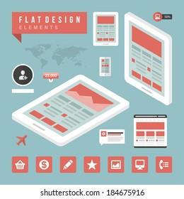 Flat design vector illustration infographic design elements concept and icons. Business  and social media design.  Web site and mobile phone templates.