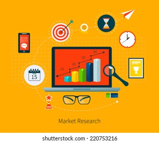 Flat design vector illustration infographic concept with icons set of modern business working elements, market research, finance paperwork objects and financial planning.
