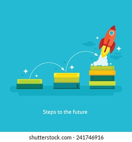 Flat design vector illustration of launching rocket, concept for significance of education, power of knowledge, steps to successful career, personal development isolated on bright background