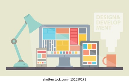 Flat design vector illustration of mobile and desktop website design development process with minimalistic modern digital tablet, desktop computer and smartphone on designer workplace in trendy color.