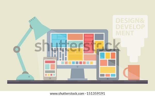 Flat design vector illustration of mobile and desktop website design development process with minimalistic modern digital tablet, desktop computer and smartphone on designer workplace in trendy color.