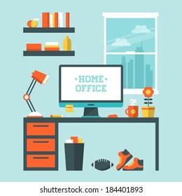 Flat design vector illustration of modern home office interior with designer desktop