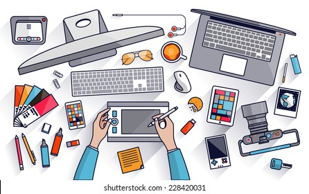 Flat design vector illustration of modern creative office workspace, workplace of a designer. The office of a creative worker. Flat minimalistic style and color with long shadows for Web & Mobile App