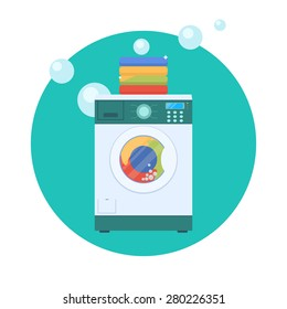 Flat design vector illustration of modern washing machine with linen. Washing clothes