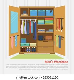 Flat design vector illustration of modern wardrobe room full of men's cloths.