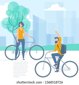 Flat design vector illustration of people in the urban park riding bicycle. Park, urban landscape, trees and clear sky with light clouds. Vector template for banner, web page and mobile app.