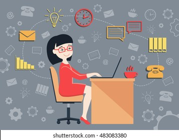 Flat design vector illustration of personal assistant or secretary managing her work with a smile