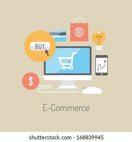 Flat design vector illustration poster concept with icons of buying product via online shop and e-commerce ideas symbol and shopping elements. Isolated on stylish colored background
