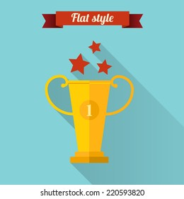 Flat design vector illustration with prize.