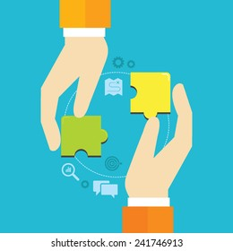 Flat design vector illustration of puzzle pieces in hands, concept for finding business solutions, reaching goals, partnership, teamwork isolated on bright background