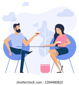 Flat design vector illustration of romantic date. Man and woman sitting it the restaurant drinking wine.