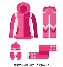 Flat design vector illustration set of warm women clothes icon. Warm winter clothes, shoes, accessories. Active leisure and lifestyle in cold season, in mountains, north. Isolated on white background.
