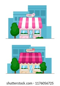 Flat design vector illustration of small business concept. House with shop. Flat candy shop and flower shop