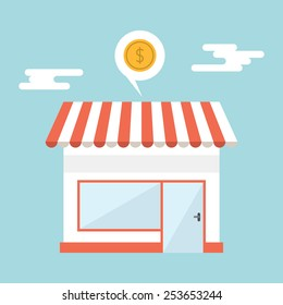 Flat design vector illustration of small business concept. House with shop