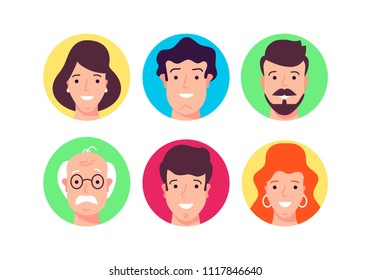 Flat design vector illustration. User pics of different people, nations and profession and the age. Modern style.